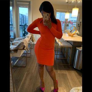 Orange fitted midi dress